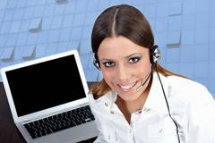 business customer support operator  - stock photo