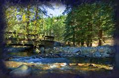 Creek in Estes Park, Colorado 2 Stock Illustration