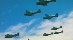 WW2 - ColorFootage - Curtiss Helldivers formation flight Stock Footage