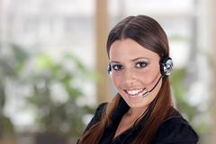 call service business operator woman - stock photo