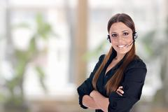 Call service business operator woman Stock Photos
