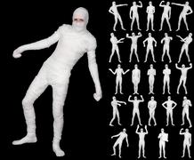 collection of terrible bandaged mummies isolated on black background - stock photo