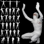 collection of bandaged mummies isolated on black background - stock photo