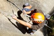 Rock Climber Close Up Shoot From Above Stock Photos