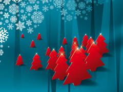 Holiday illustration with red pine trees in blue background Stock Illustration