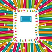 notebook frame of colorful pencils - stock illustration