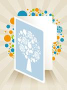 greeting card illustration with abstract tree - stock illustration