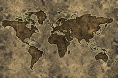 parchment world map - stock photo