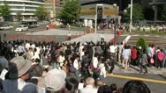 Stock Video Footage of Crowds gather to watch the opening of a matsuri (festival) in Japan
