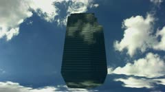 Skyscraper Floating In Sky Stock Footage