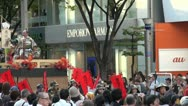 Stock Video Footage of Japanese samurai and Western fashion brand during a festival in Nagoya, Japan