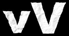 crumple paper alphabet - v - stock illustration