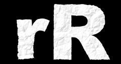 crumple paper alphabet - r - stock illustration