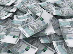 russian roubles currency background - stock photo