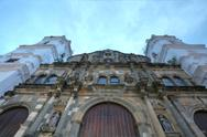 Wide angle picture of a panama cathedral in the sunset Stock Photos