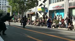 Samurai in the streets of Nagoya in Japan Stock Footage