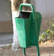 green bin in the park - stock photo