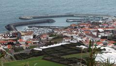 Coastal settlement at the azores Stock Photos