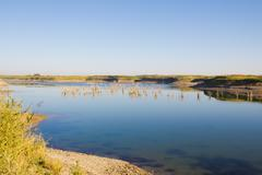 lake in the steppes of kazakhstan - stock photo