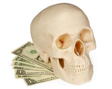 skull lying on a pack of money isolated on white - stock photo