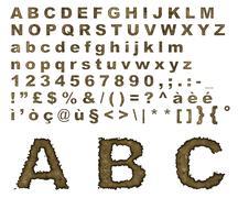 Stock Illustration of burnt parchment alphabet