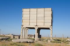 brick house in the steppes of kazakhstan - stock photo