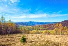 Autumn country landscape (carpathian, ukraine). Stock Photos