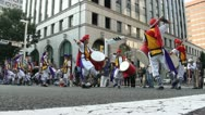 Stock Video Footage of Traditional Japanese drum band, instruments, streets, performance, show