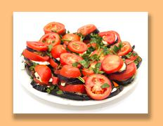 roasted eggplant with tomatoes - stock photo