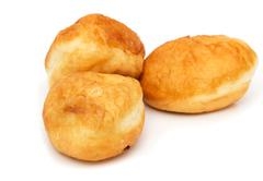 Fried pies with meat on a white background Stock Photos