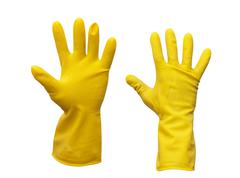 yellow rubber gloves on white background - stock photo