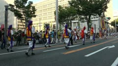 Traditional drum band during Japanese festival Stock Footage