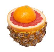 Stock Photo of grapefruit and pineapple on a white background