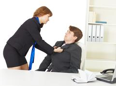 Quarrel of men at office Stock Photos