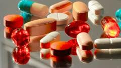 Pills capsules healthcare doctor prescription pharmacist health drug tablets Stock Footage