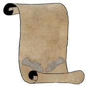 3d vintage armour gloves on open scroll Stock Illustration