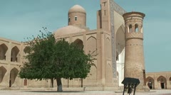 Mosque and Minaret at Chor Bakr Complex in Sumitan near Bukhara Stock Footage