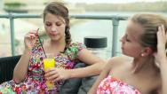 Female friends drinking and chatting in bar, steadicam shot HD Stock Footage