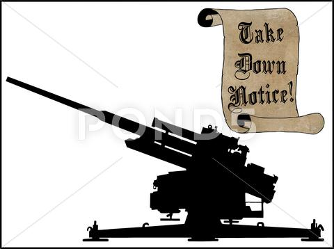 Stock Illustration of take scroll down notice with anti aircraft gun