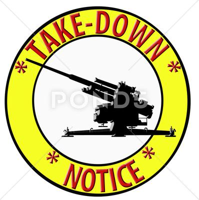 Stock Illustration of 3d take down notice with anti aircraft gun