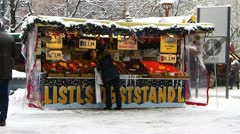 Europe Germany Munich Christmas Advent Fair Market Xmas Fruit stall Stock Footage