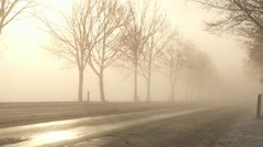 street in winter with snow and fog and cars in germany - stock footage