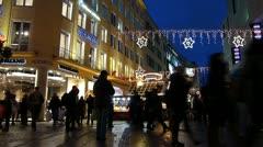 Stock Video Footage of Europe Germany Munich Marienplatz Christmas Advent Fair Market Xmas