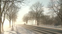 street in winter with snow and cars in germany - stock footage