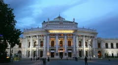 Vienna, theater building in evening illumination Stock Footage