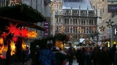 Europe Germany Munich Marienplatz Christmas Advent Fair Market Xmas - stock footage