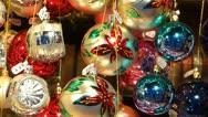 Europe Germany Munich Christmas Advent Fair Market Xmas Glass Ball Stock Footage