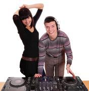 dj and girl techno party.JPG - stock photo