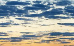 horizontal seamless panorama of evening sky - stock photo