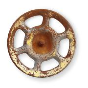 Old rusty metal valve on white background Stock Photos